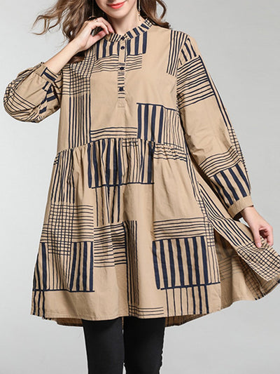Loose Plus Size Stripes Buttons Patchwork Stand Collar Long Sleeve Blouses