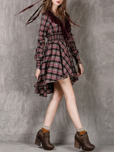 Plaid Long Sleeve Ruffle Lace-Up Asymmetric Linen & Cotton Dresses