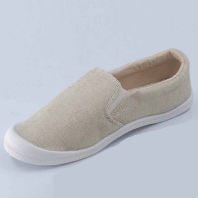 Casaul Solid Color Round Toe Flat Heel Slip-On Canvas Loafers