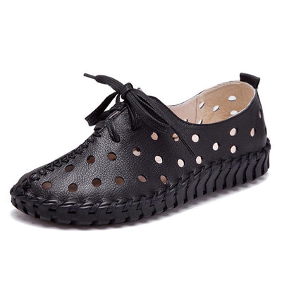 Solid Color Leather Hollow Lace-Up Flat Heel Hole Round Toe Loafers