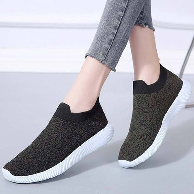 Casual Color Block Round Toe Slip-On Flat Heel Breathable Sneakers