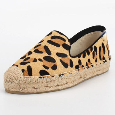Sexy Leopard Round Toe Leather Hollow Slip-On Linen Flats