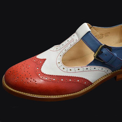 British Vintage Style Color Block Buckle Strap Leather Loafers