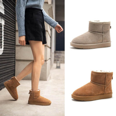 2019 new winter leather short tube fur-and-leather snow boots thickened all-wool flat shoes