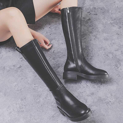 Autumn and winter new leather boots with thick side zipper but knee Martin boots