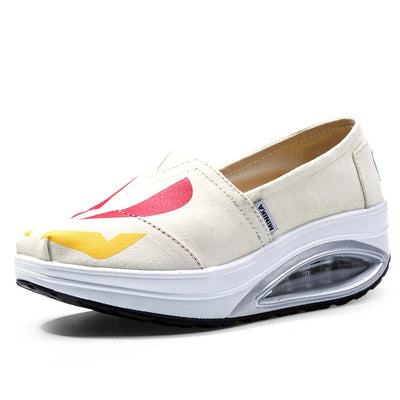 Air cushion breathable comfortable canvas rocking shoes