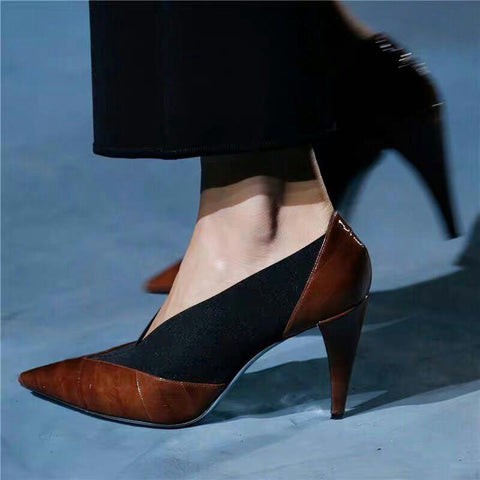 Color Block Hollow Patchwork Point Toe Stiletto Heel Pumps & Heels