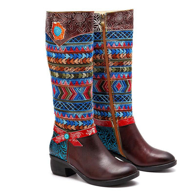 Embroidery Bowknot Side Zipper Chunky Heel Leather Knee-High Boots 02