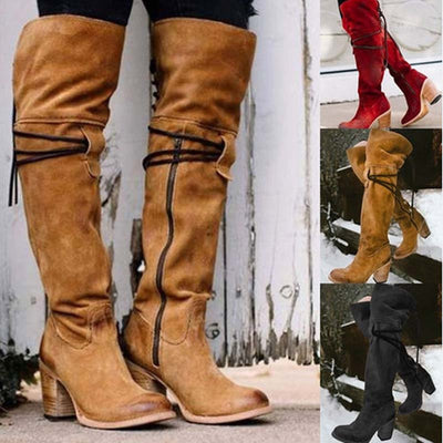 New solid color fur one warm knee boots