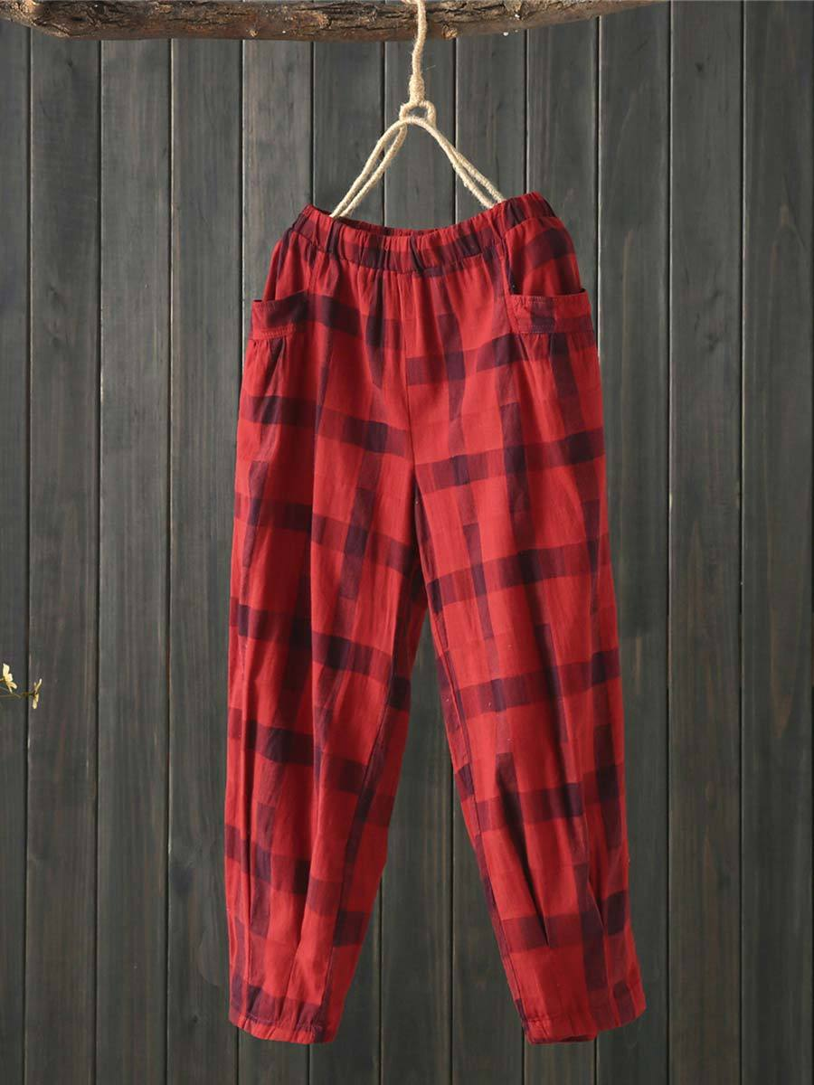 Casual Plaid Loose Linen & Cotton Pocket Patchwork Harem Pants