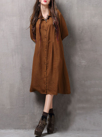 Vintage Turn Down Collar Ruffle Sleeve Loose Buttons Casual Dresses