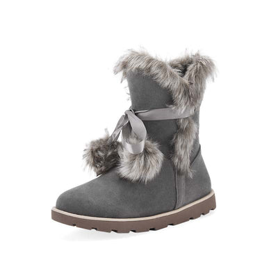 Hair ball snow boots simple matte non-slip boots