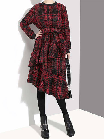 Vintage Plaid Long Sleeve Ruffle Patchwork Belt Round Neck Day Dresses