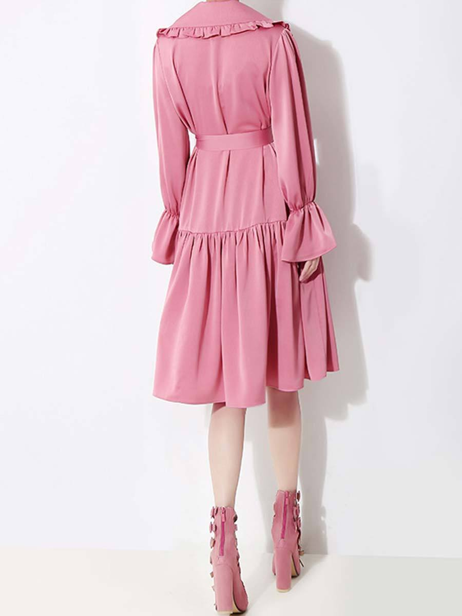 Solid Color Double Buttons Belt Ruffle Long Sleeve Turn Down Collar Day Dresses