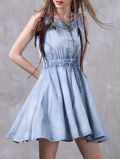 Worn Ethic Round Neck Sleeveless Lace-Up Bowknot A-Line Denim Dresses