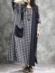 Color Block Patchwork Pocket Round Neck Long Sleeve Thick Maxi Dresses