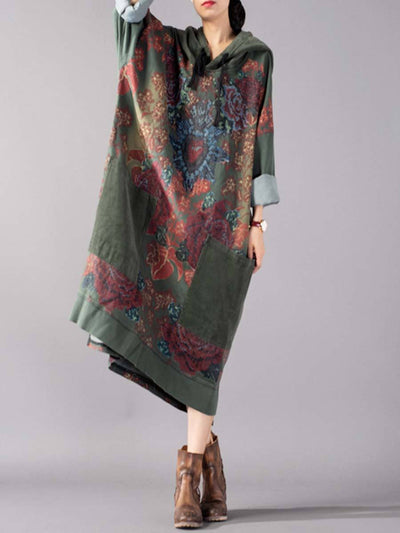 Plus Size Floral Loose Hoodies Long Sleeve Patchwork Casual Dresses