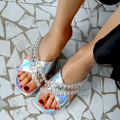 Beads Rhinestones Cross Chunky Heel Square Toe Slip-On Sandals