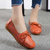 Flat with peas leather lace-up women's shoes