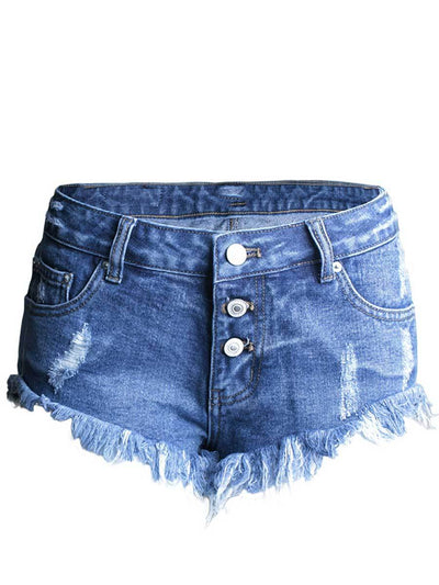 Hole Asymmetric Pocket Tassel Low-Waist Cotton Denim Shorts