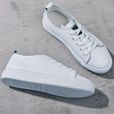Leather Round Toe Flat Heel Lace-Up White Sneakers