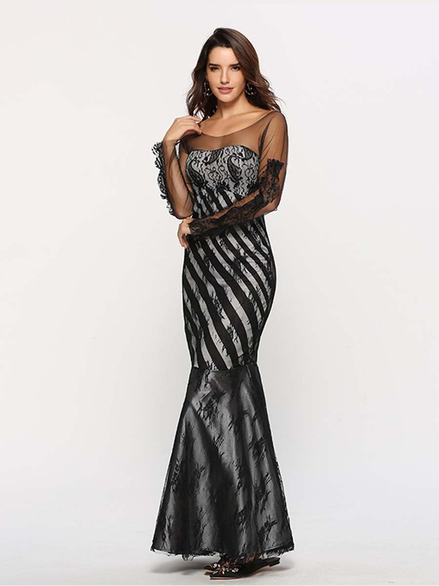 Lace silk gauze slim dance party toast evening dress