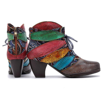 Stripes Leaf Shape Color Block Leather Lace-Up Ankle Chunnky Heel Boots