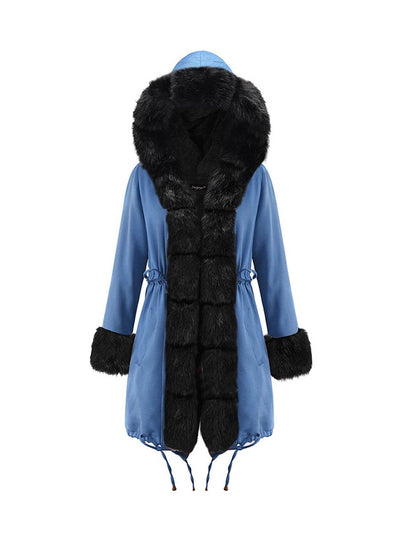 2019 temperament winter women's warm jacket hooded coat fur collar coat