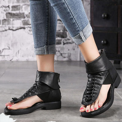 Thong Back Zipper Solid Color Leather Chunky Low Heel Sandals