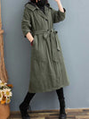 Winter solid color large size hooded thickening long winter cotton ladies cotton jacket