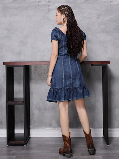 2020 spring and summer new style Slim fit denim skirt retro pleated ruffle dress