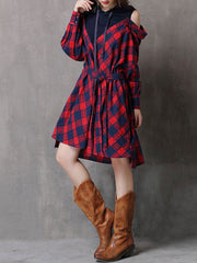 Cold Shoulder Asymmetric Plaid Long Sleeve Belt Hoodies Casual Dresses