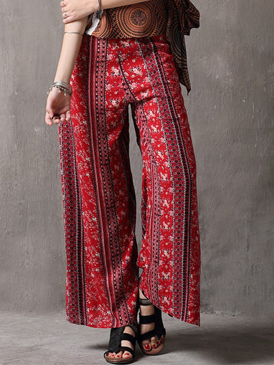 Summer Ethic Floral Split Linen & Cotton Wide legging Pants