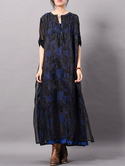 V-Neck See-Through Embroidery Three Quarters Sleeve Split Maxi Dresses