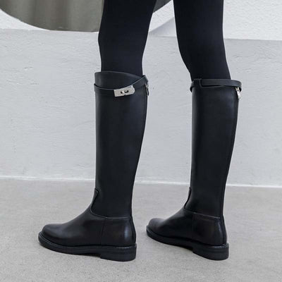 Winter new leather low heel round metal buckle high warm boots