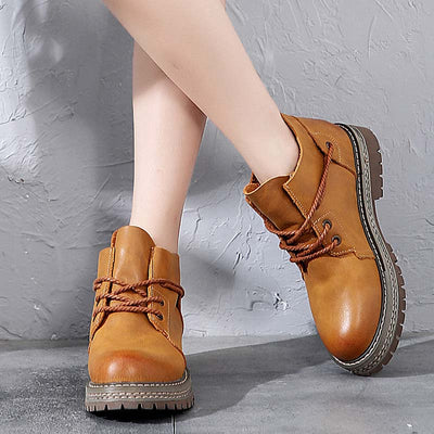 2019 autumn new retro leather handmade British style casual booties
