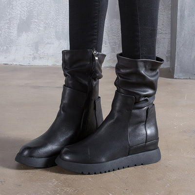 2019 autumn and winter handmade boots leather casual leather women's boots