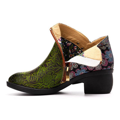 3D Chunky Heel Green Leather Round Toe Ankle Boots