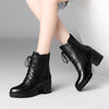 New women's booties winter plus velvet round head waterproof platform thick high heel Martin boots