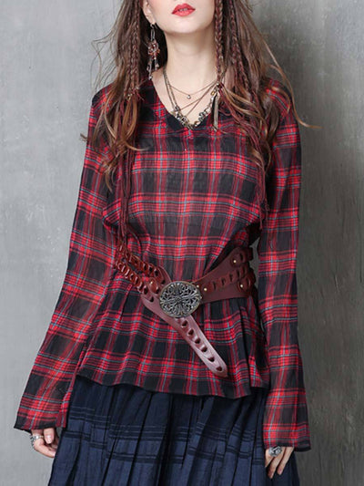 Vintage Plaid Loose Long Sleeve V-Neck Cliffon Pleated Blouses