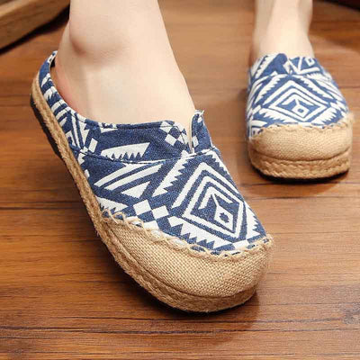 Plaid cotton and linen tow national wind casual handmade straw shoes