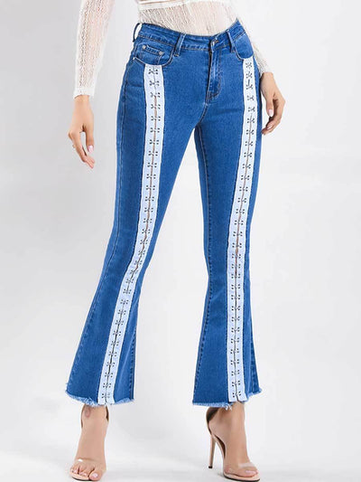 Color Block Hollow Lace-Up Tassel Pocket High-Waist Bottom Jeans