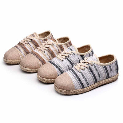 Casual wild cotton and linen striped flat bottom breathable straw shoes