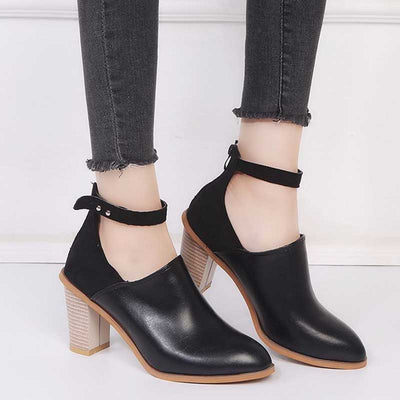 Pointed thick with high heel fashion leather boots
