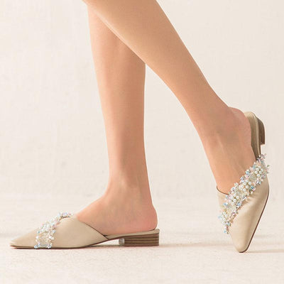 Point Toe Cultured Pearl Cloth Hollow Low Heel Slip-On Loafers