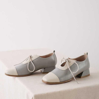 British style retro leather lace with square head stitching flat women's shoes