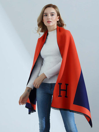 Autumn and winter new European and American big brand high-end double-sided H letter imitation cashmere scarf ladies thick warm shawl