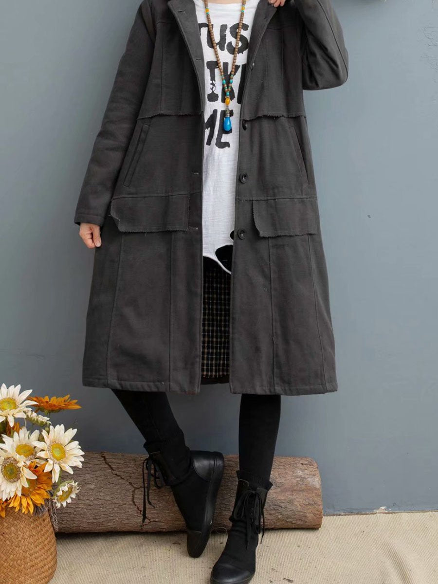 2019 winter solid color long hooded thick velvet warm women's winter coat