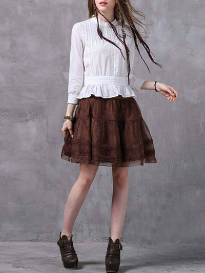 Vintage Stand Collar Long Sleeve Ruffle Hollow Pleated Cotton Blouses