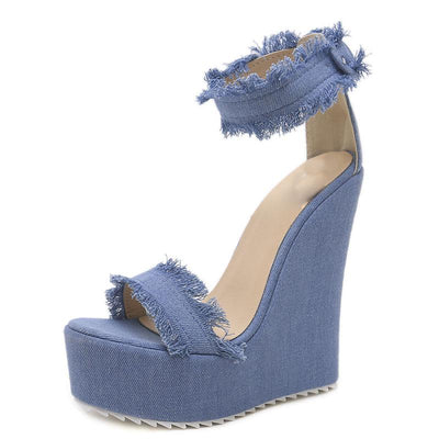 Raw Edges Denim Platform Heel Open Toe Buckle Ankle Strap Wedges
